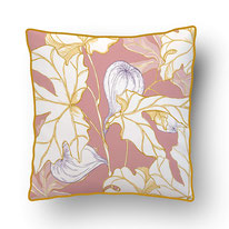 coral tulip details on an eclectic blue ground, printed cushions by mademoiselle camille