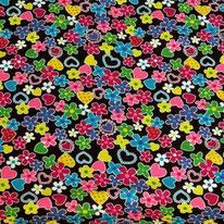 Hearts Flowers Stars Waterproof Fabric