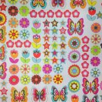 Flowers Butterflies Waterproof Fabric