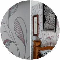 PINTORES DE empapeladores , en la foto se ve papel pintado con relieve