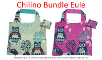 Chilino Bundle Set Bag Tasche Eule, grün, rosa