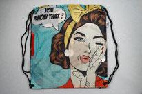 Chilino Backpacker Rucksack Pop Popart Frau Dame Madame Lady Schleife, blau