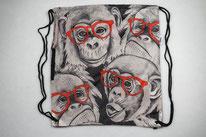 Chilino Backpacker Rucksack Gorilla Affe Schimpanse Brille, grau