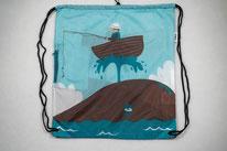Chilino Backpacker Rucksack Fischer Meer Boot Wal, blau