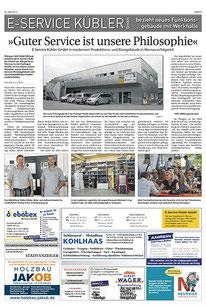 Pressebericht über die E Service Stefan Kübler GmbH - Ihr Elektriker aus Wernau
