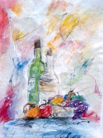 """""""Tischwein""""  Acryl/Kreide auf Papier 20x30 cm"""