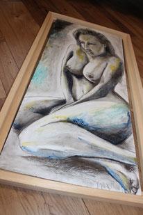 """Femme Fatale""  Kohle auf Hartfaserplatte 30x60 cm"