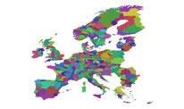 Kaart met Europese landschappen met een unieke naam (WUR).