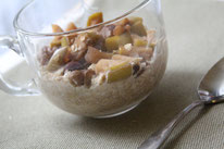 Apple cinnamon oatmeal made with baked apples.  perfect warm winter recipe! by homemade nutrition - www.homemadenutrition.com
