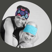 Stirnbänder für Mann und Frau die praktisch sind für unter den Ski- oder Fahrradhelm. Selber genäht aus dem Nähatelier Chappunzel.