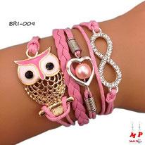 Bracelet infini rose à symboles hibou doré et coeur perlé en métal et similicuir