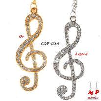 Colliers à pendentifs notes de musique dorée ou argentée serties de strass