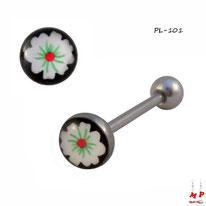 Piercing langue à boule plate motif fleur blanche et noire en acier chirurgical