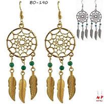 Boucles d'oreilles pendantes attrape rêve dorés ou argentés et perles turquoise