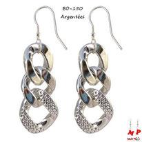 Boucles d'oreilles pendantes à gros maillons argentés