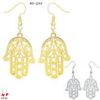 Boucles d'oreilles pendantes à mains de Fatma dorées ou argentées en métal