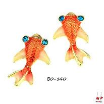Boucles d'oreilles fantaisie poissons rouges aux yeux bleus