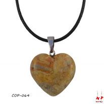 Collier à pendentif coeur en pierre d'agate crazy