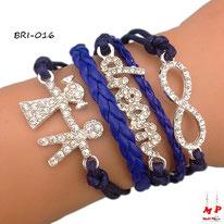 Bracelet infini bleu en similicuir modèle enfants et dream à strass