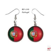 Boucles d'oreilles pendantes drapeau du Portugal en métal argenté et verre