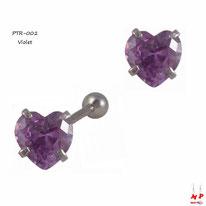 Piercing tragus cartilage en coeur à strass violet