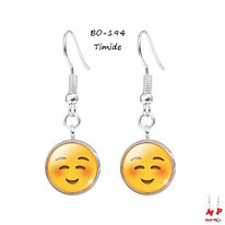 Boucles d'oreilles pendantes emoji émoticônes smiley timide