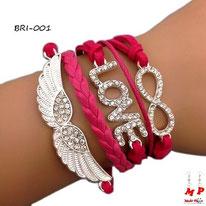 Bracelet infini fuchsia à symboles aile et love sertis de strass et similicuir