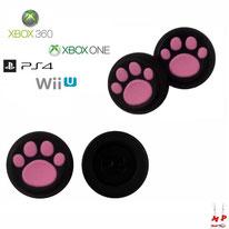 Paire de grips de protection noirs à pattes de chiens roses en silicone pour joysticks de PS3, PS4, Xbox 360, Xbox One et Nintendo Wii U