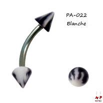 Piercing arcade pointes acrylique flammes noires et blanches