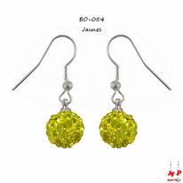 Boucles d'oreilles pendantes shamballa jaunes