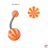 Piercing nombril à boules acryliques ballons de plage oranges et blancs