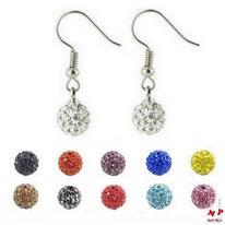 Boucles d'oreilles pendantes shamballa blanches cristal