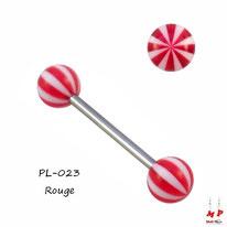 Piercing langue à boules acryliques ballons de plages rouges et blancs