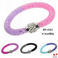 Bracelet stardust poussière d'étoiles bicolore rose violet et femroir à strass aimanté