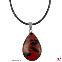 Collier à pendentif goutte d'eau en pierre d'obsidienne acajou