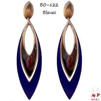 Boucles d'oreilles pendantes bleues et dorées en métal