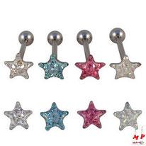 Piercing langue étoile serti e strass sous dôme 4 couleurs