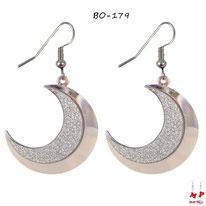 Boucles d'oreilles pendantes lunes argentées et paillettes argentées