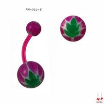 Piercing nombril bioflex à boules acryliques magenta et feuilles vertes