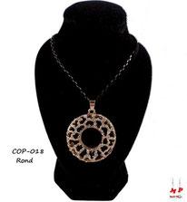 Collier pendentif rond motif zèbre avec strass
