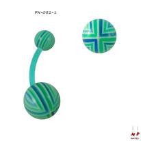 Piercing nombril bioflex boules acryliques à quadrillages bleus et verts
