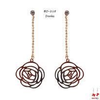 Boucles d'oreilles chaines à billes et roses pendantes dorées