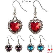 Boucles d'oreilles pendantes coeur de l'océan 3 couleurs