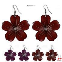 Boucles d'oreilles pendantes grosses fleurs 3 couleurs