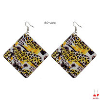 Boucles d'oreilles pendantes carrées motif jungle