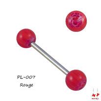 Piercing langue boules fleurs en forme de roses rouges ouvertes