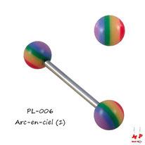 Piercing langue à boules acryliques arc-en-ciel