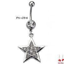 Piercing nombril pendentif étoile argentée sertie de strass blancs