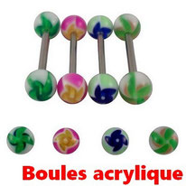 Piercings langue boules acrylique