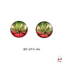 Boucles d'oreilles puces rondes rasta et se feuille de cannabis